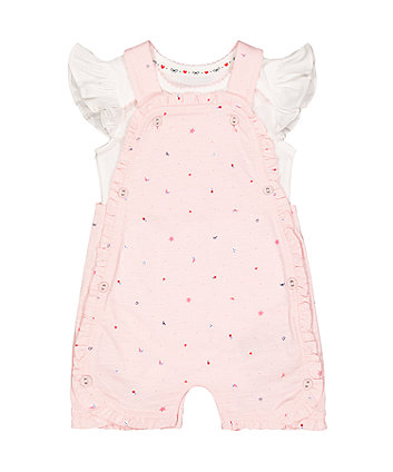 Mothercare Pink Seaside Romper And White Bodysuit Set