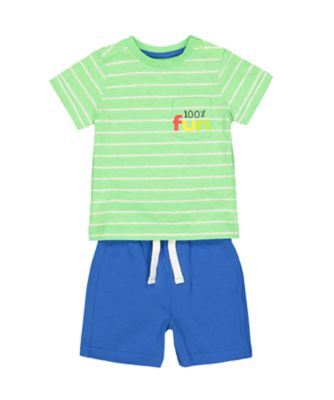 Mothercare Sunny Cove Fun Green Stripe T-Shirt And Blue Shorts Set