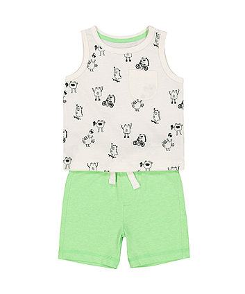 Mothercare Monsters Vest And Green Shorts Set