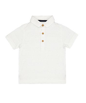 Mothercare White Jacquard Polo T-Shirt
