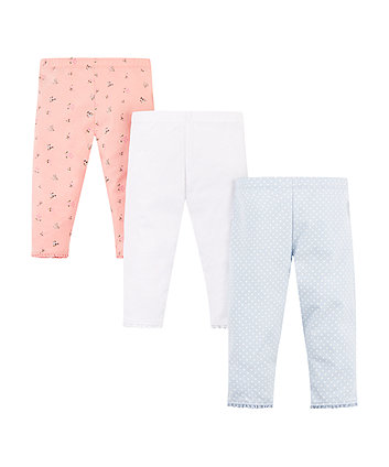Mothercare Floral, White And Spot Cropped Leggings – 3 Pack