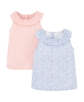 Mothercare Frill Vest Tops - 2 Pack