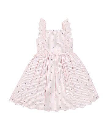 Mothercare Pink Striped Floral Dress