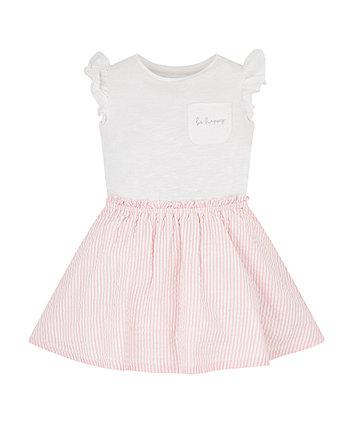 Mothercare Pink Stripe Twofer Dress