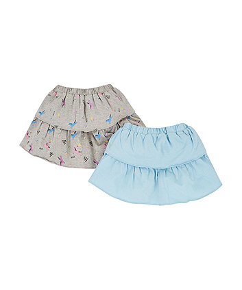 Mothercare Grey Print And Blue Skirts - 2 Pack