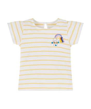 Mothercare Yellow Stripe Rainbow T-Shirt