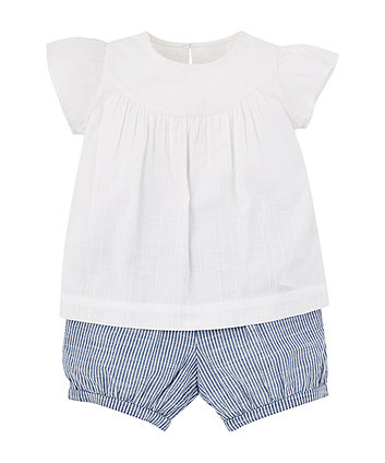 Mothercare White Blouse And Shorts Set