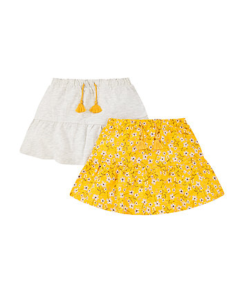 Mothercare Grey Marl And Floral Print Skirts - 2 Pack
