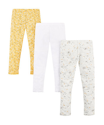 Mothercare Yellow Floral Leggings - 3 Pack