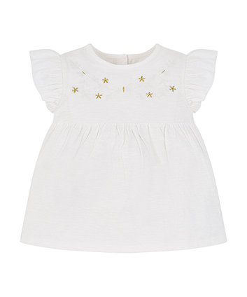 Mothercare White Embroidered Floral Blouse