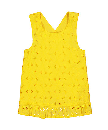 Mothercare Yellow Frill Hem Broderie Blouse