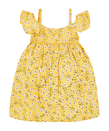 Mothercare Yellow Floral Bardot Dress