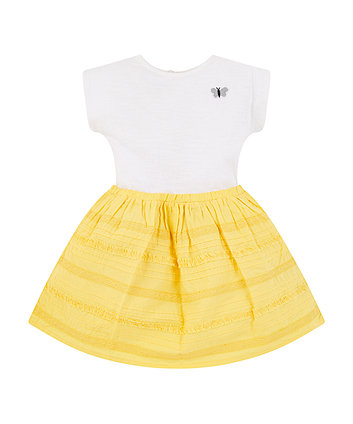 Mothercare Yellow Broderie Twofer Dress