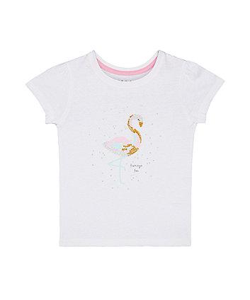 Mothercare White Flamingo T-Shirt