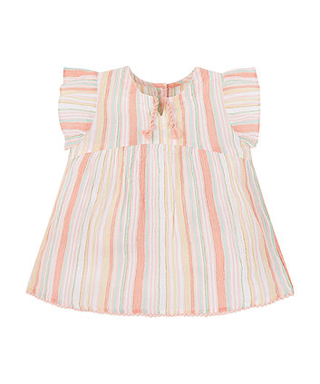 Pink Striped Woven Blouse