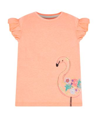 Mothercare Sunny Cove Coral Flamingo Short Sleeve T-Shirt