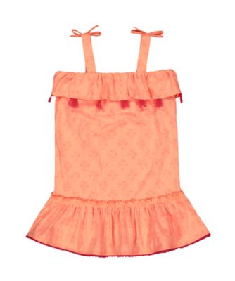 Mothercare Sunny Cove Coral Floral Jersey Strap Dress