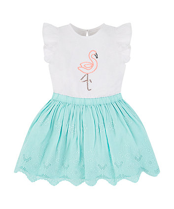 Mothercare Glitter Flamingo Broderie Twofer Dress