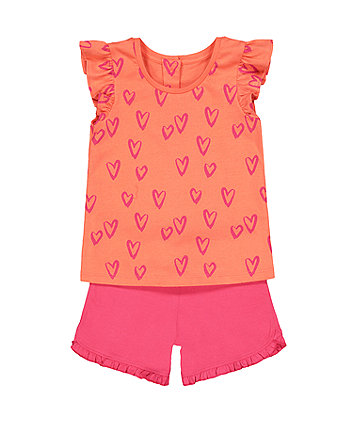 Mothercare Heart Vest And Shorts Set