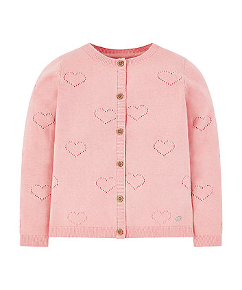 Pink Pointelle Heart Cardigan