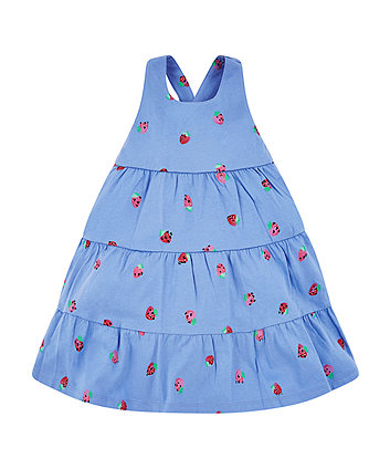 Mothercare Blue Strawberry Tiered Dress
