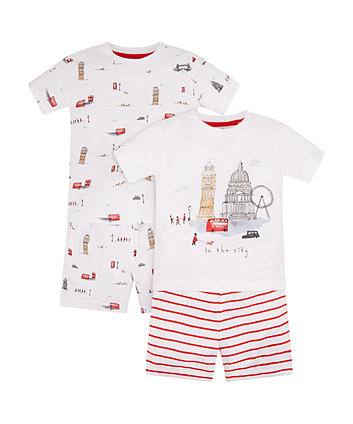 Mothercare London Landmarks Shortie Pyjamas - 2 Pack