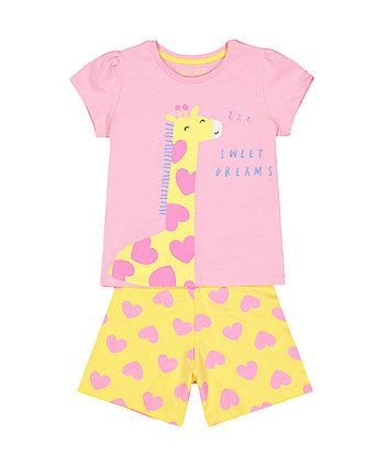 Giraffe Pink And Yellow Pyjamas