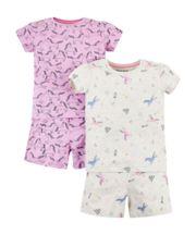Unicorn Shortie Pyjamas - 2 Pack