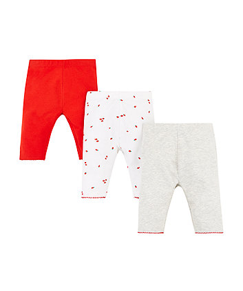 Mothercare Strawberry, Red And Grey Marl Leggings – 3 Pack