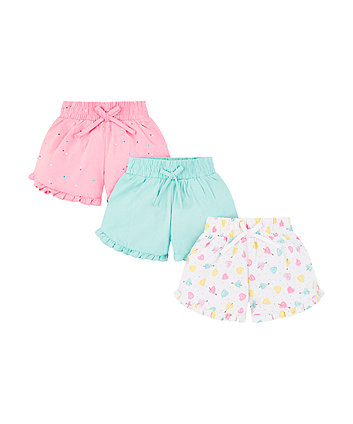 Mothercare Heart And Spot Shorts - 3 Pack