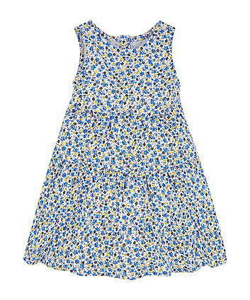 Mothercare Blue Ditsy Tiered Dress