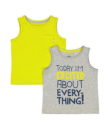 Mothercare Grey Excited And Yellow Vests – 2 Pack