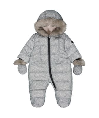 Mothercare NB Modern Grey Marl Padded Snowsuit