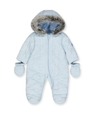 Mothercare My First Little Bear Blue Cloud Quilted Snowsuit