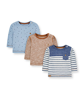 Mothercare Blue Stripe, Paws And Brown T-Shirts - 3 Pack