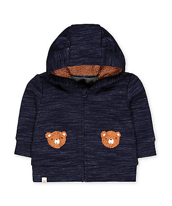 Mothercare Blue Teddy Bear Zip-Through Hoodie