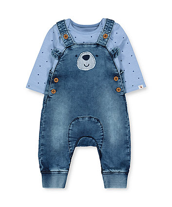 Mothercare Denim Bear Dungarees And Blue Paw Bodysuit Set
