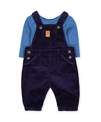Mothercare Blue Dungarees And Ribbed Bodysuit Set