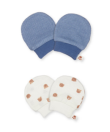 Mothercare Teddy Bear Mitts - 2 Pack