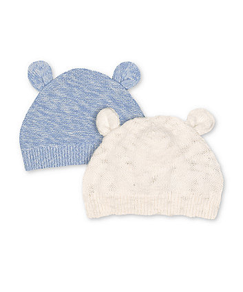 Mothercare White And Blue Knit Ear Hats - 2 Pack