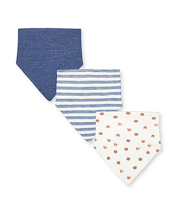 Mothercare Blue Stripe And Bear Bibs - 3 Pack