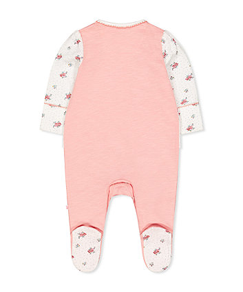 Mothercare Pink Ditsy Floral Mock T-Shirt All In One