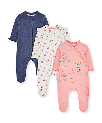Mothercare Pink Bunny, White Floral And Blue Spot Frill Sleepsuits - 3 Pack
