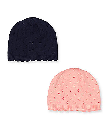 Mothercare Pink And Blue Knitted Hats - 2 Pack
