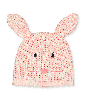 Mothercare Pink Knitted Bunny Hat
