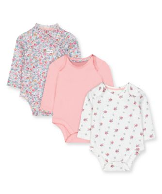 Mothercare Prairie Flower Floral And Pink Wrap Long Sleeve Bodysuits - 3 Pack