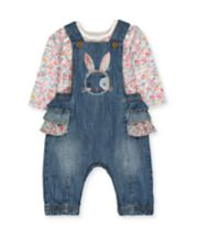 Mothercare Denim Bunny Dungarees And Floral Bodysuit Set