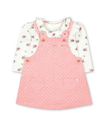 Mothercare Pink Cord Pinny Dress And Bodysuit Set