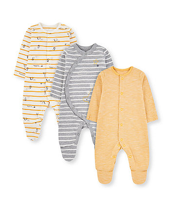 Mothercare Yellow And Grey Dinosaur Sleepsuits - 3 Pack