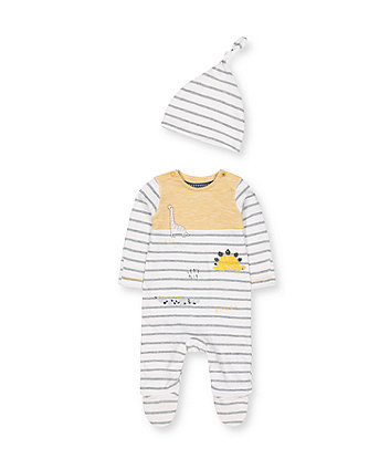 Mothercare Stripe Dinosaur All In One And Hat Set